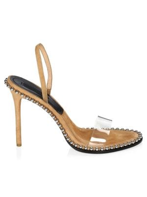 Nova Studded Leather And Pvc Slingback Sandals, Clay