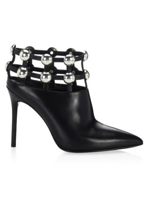 Tina Leather Studded Grid Cage Booties, Black from FORZIERI