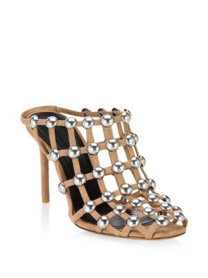 Sadie Studded Slip-On Suede Sandals, Clay