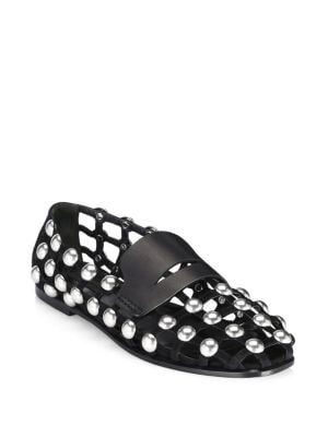 Sam Studded Leather And Suede Caged Loafers, Black