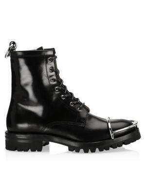 134ddad384dd9 Fendi - Rockoko Leather & Knit Combat Boots - saks.com