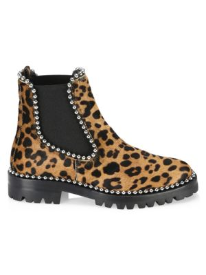 Spencer Studded Leopard-Print Calf Hair Chelsea Boots