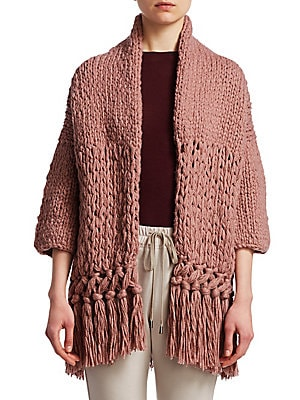 Image of With its chunky duo of knits finished with a rustic tassel trim, this cardigan feels very current. Subtle metallic threading throughout the sweater, which boasts both virgin wool and cashmere, adds a pop of glamour. Shawl collar Three-quarter sleeves Fron