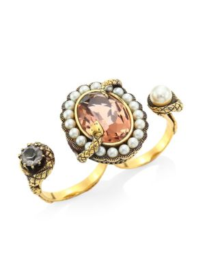 Snake Jewel Double Ring, Yellow Gold