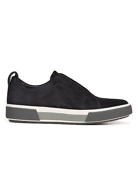 Image of Easy-going slip-on sneaker with contrasting trim at the sole. Leather upper. Textile lining. Gore panel. Slip-on styling. Rubber sole. Imported.