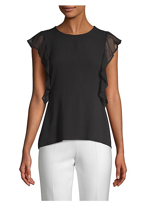 "Image of A light crepe blouse flaunts ruffled flutter accents. Roundneck. Sleeveless. Pullover style. Ruffled wrap-around trim. Lined. About 26"" from shoulder to hem. Lyocell/cotton. Machine wash. Imported. Model shown is 5'10"" (177cm) wearing a US size Small."