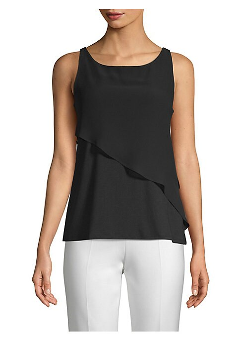 "Image of Airy blouse with asymmetric ruffled overlay panel. Roundneck. Sleeveless. Pullover style. Lined. About 26"" from shoulder to hem. Lyocell/cotton. Machine wash. Imported. Model shown is 5'10"" (177cm) wearing a US size Small."
