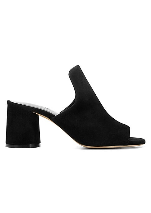 """Image of Suede mules with a geometric cone heel. Self-covered heel, 2.56"""" (65mm).Suede upper. Open toe. Slip-on style. Soft piuma matte and leather lining. Leather sole. Made in Italy."""