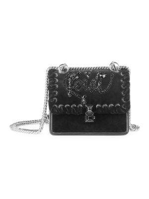 Small Kan I Velvet Embroidered Shoulder Bag in Nero/ Palladio
