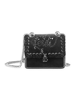 d05390e1cc7d Fendi - Small Kan I Velvet Embroidered Shoulder Bag - saks.com