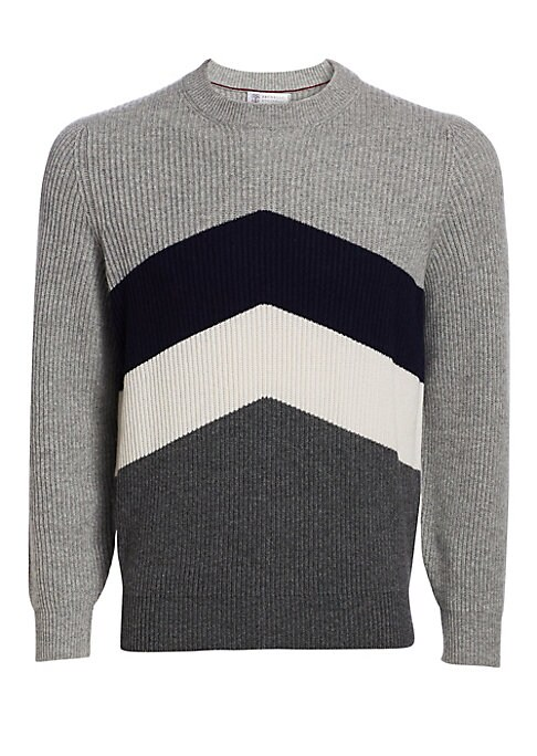 "Image of Chevron colorblock design elevates this sumptuously knit sweater. Crewneck. Long sleeves. Rib-knit neck, cuffs and hem. Pullover style. Wool/silk/cashmere. Dry clean. Made in Italy. SIZE & FIT. About 28"" from shoulder to hem."