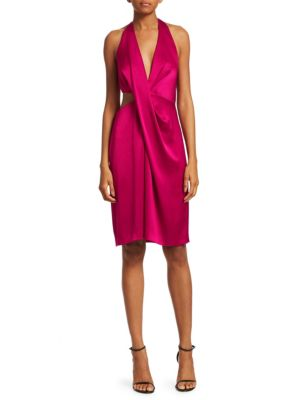 Cut-Out Satin Halter Sheath Dress, Wildberry