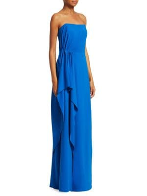 Strapless Drape Gown in Cobalt