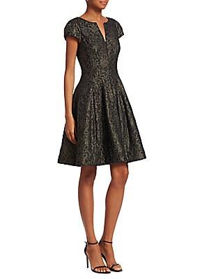 f483c5c0395 Halston Heritage - Metallic Fit   Flare Dress - saks.com