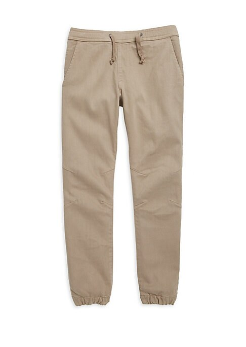 Image of Jogger details add casual cool to tailored chinos. Drawstring waistband. Faux fly. Waist slant pockets. Back welt pockets. Seamed knees. Elasticized hems. Cotton/tencel/lycra. Machine wash. Imported.