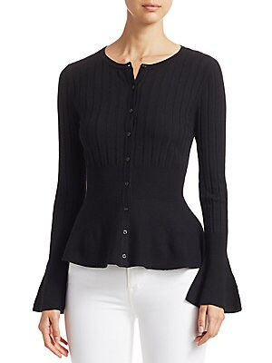 Collection Wool Elite Ribbed Peplum Cardigan by Saks Fifth Avenue