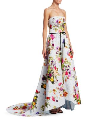 MONIQUE LHUILLIER Strapless Dotted Floral-Print Jacquard High-Low Evening Gown W/ Train in White Pattern