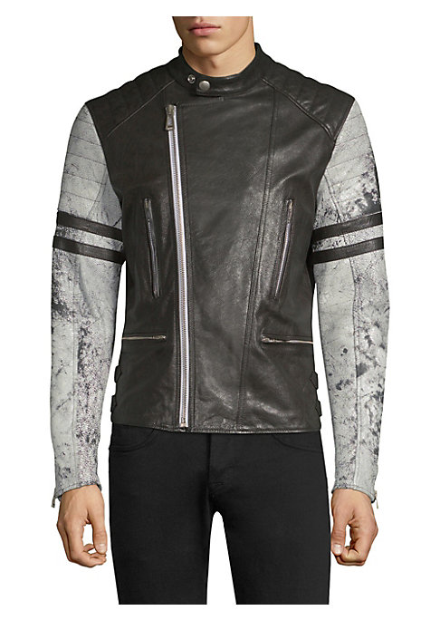 """Image of Acid wash sleeves offer vintage aesthetic to leather jacket. Snap-button bib collar. Long sleeves. Zip cuffs. Asymmetric zip front. Vertical chest zip pockets. Horizontal waist zip pockets. Back buckle details at the hem. Viscose lining. About 26"""" from sh"""