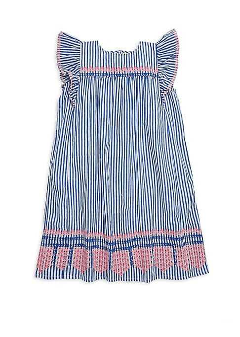 Image of Smocked cotton dress with ruffle cap sleeves and precious embroidery details. Roundneck. Sleeveless. Back button closure. Gathered yoke. Cotton. Machine wash. Imported.