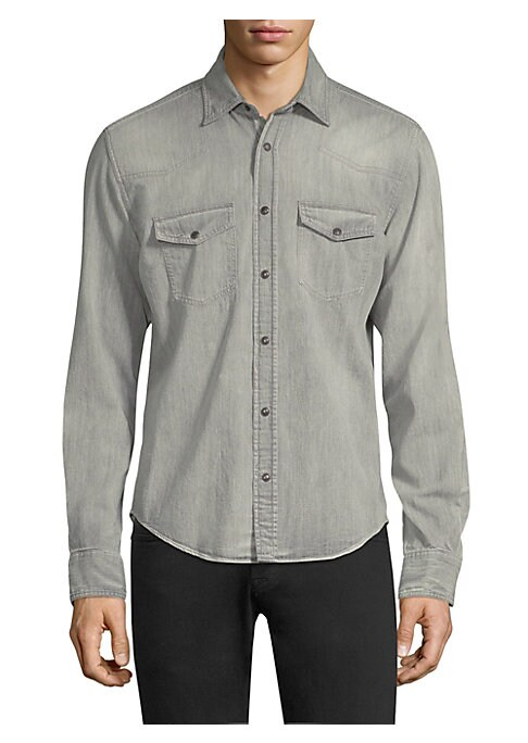 """Image of Versatile button down made from a lightweight denim weave. Point collar. Long sleeves. Snap front closure. Button flap chest pockets. Shirttail hem. About 37"""" from shoulder to hem. Cotton. Machine wash. Imported."""