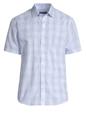 ZACHARY PRELL Gaetano Plaid Sport Shirt in Ice Blue