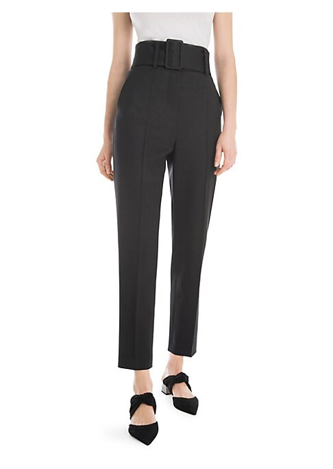 Image of Designer Sara Battaglia is all about the powerful silhouette. To wit: her take on the classic cigarette pant is tailored smartly and stretched upwards, with an ultrahigh waist cinched by a wide belt. Belt loops with removable belt. Front zip closure. Side