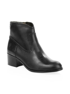 Claire Leather Booties in Black Leather