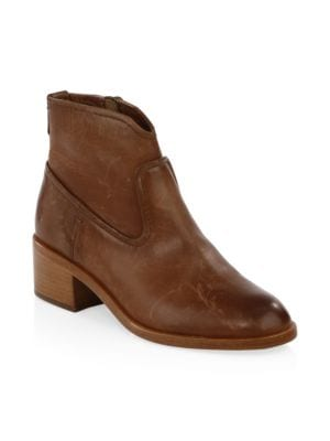 Claire Leather Booties in Cognac Leather