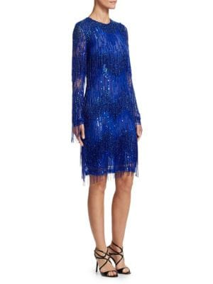 NAEEM KHAN Jewel-Neck Long-Sleeve Beaded-Fringe Cocktail Dress in Cobalt
