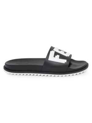 Logo Embossed Rubber Slide Sandals, Black
