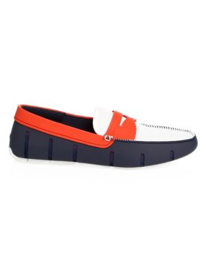 Waterproof Penny Loafers, White Navy Traffic Light