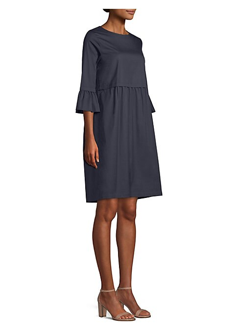 Image of Cut from smooth stretch cotton, this relaxed-fit shift dress is designed with an empire waist and playful ruffle details. Roundneck. Three-quarter sleeves. Ruffle cuffs. Concealed back zip closure. Cotton/nylon/elastane. Hand wash. Imported of Italian fab