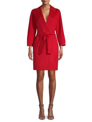 Arona Belted Wool Wrap Coat, Red