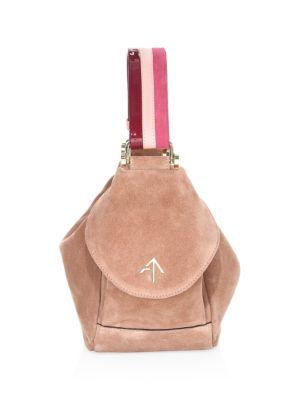 Micro Fernweh Suede Bucket Bag in Pink