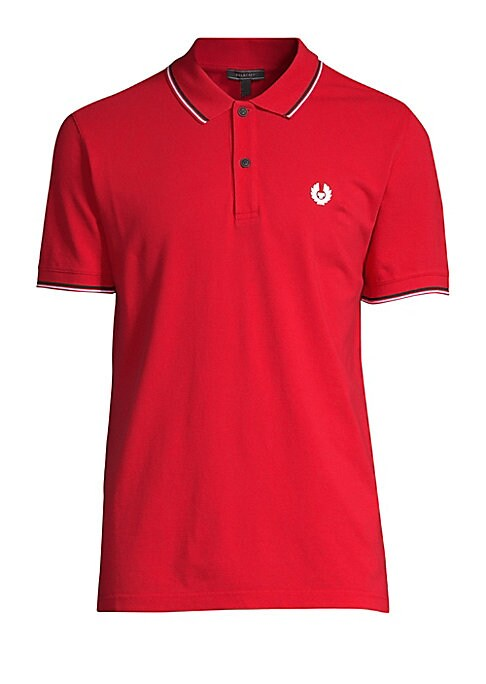 """Image of Contrast stripes frame embroidered cotton polo. Spread collar. Short sleeves. Two-button placket. About 27"""" from shoulder to hem. Cotton. Dry clean. Imported."""