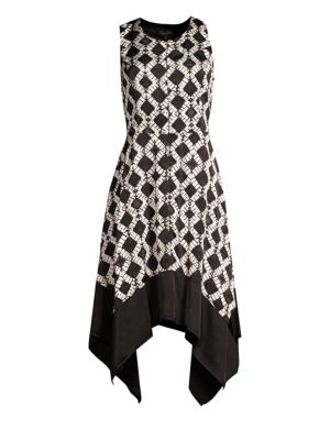 Sleeveless Tie-Dye Handkerchief Midi Dress, Black from DKNY