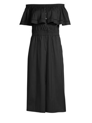 Off-The-Shoulder Button-Front Jumpsuit, Black from DKNY