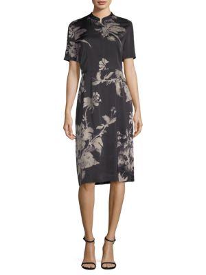 Satin Short-Sleeve Floral Sheath, Olive from DKNY
