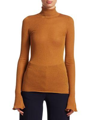 Sheer Rib-Knit Turtleneck Sweater in Neutrals