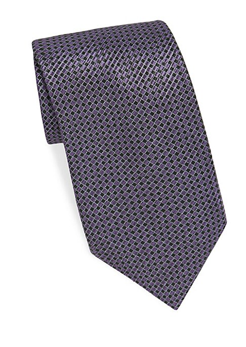 """Image of Checkered tie woven of pure silk. About 3"""" wide. Silk. Dry clean. Made in Italy."""
