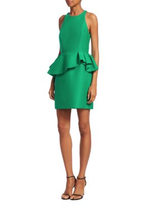 Fitted Halter Dress W/ Peplum Waist in Emerald