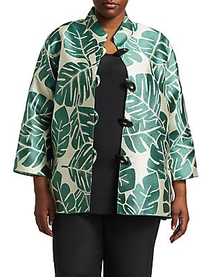 c2448627522 Caroline Rose - Plus Palm Jacquard Silk Jacket