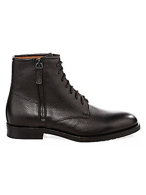 Image of From the Saks IT LIST UTILITY Give off-duty style an on-duty function with the latest military-inspired pieces. THE LACE-UP BOOT Try with trousers or denim-a little bit of rugged goes a long way. Must-have ankle boots with embossed leather upper Leather u