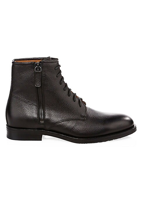 Image of From the Saks IT LIST. UTILITY. Give off-duty style an on-duty function with the latest military-inspired pieces. THE LACE-UP BOOT. Try with trousers or denim-a little bit of rugged goes a long way. Must-have ankle boots with embossed leather upper. Leath