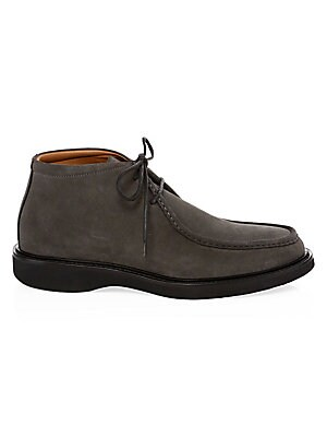 Image of Durable chukka boots crafted from smooth suede Suede upper Almond toe Lace-up vamp Waterproof Rubber sole Made in Italy. Men's Shoes - Mens Classic Footwear > Saks Fifth Avenue. Aquatalia. Color: Dark Charcoal. Size: 10 M.