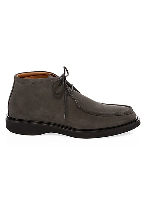 Image of Durable chukka boots crafted from smooth suede. Suede upper. Almond toe. Lace-up vamp. Waterproof. Rubber sole. Made in Italy.