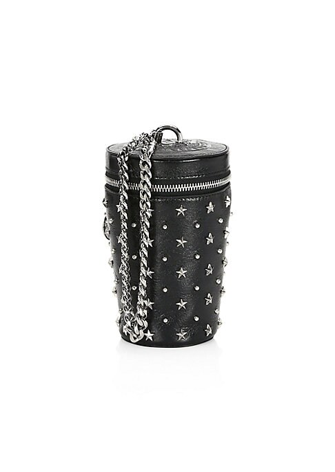 "Image of Sleek cylinder bucket with a studded star motif and chunky chain strap. Chain shoulder strap. Zip-around closure. Silvertone hardware. Lined. Leather. Made in Italy. SIZE.4""W x 6""H x 1""D."