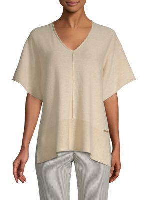 Donna Karan Cottons Marled V-Neck Top