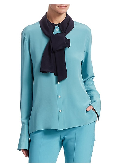 """Image of Cut from gorgeous crepe silk, this two-tone blouse is designed with an elegant tied neckline. Tie-neck. Long sleeves. Button cuffs. Button front. Silk. Dry clean. Imported. SIZE & FIT. About 23.5"""" long. Model shown is 5'10"""" (177cm) wearing US size 4."""