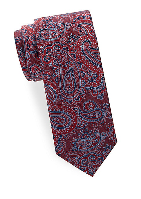 "Image of Luxurious paisley print adorns luscious silk tie.5"" wide. Silk. Dry clean. Made in Italy."
